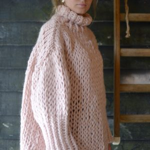 hand knitted chunky jumper in rose