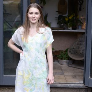 Hand Painted Tunic in Spearmint/Camomile
