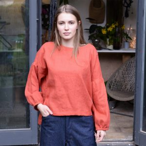 Puff Sleeved Box Top in Pumpkin